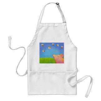 Pig dreams of cupcakes adorable crayon art adult apron