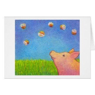 Pig dreams of cupcakes adorable crayon art cards