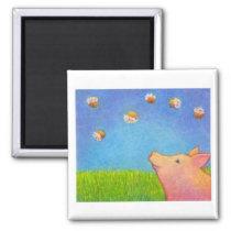Pig dreams of cupcakes adorable crayon art magnet
