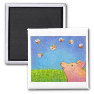 Pig dreams of cupcakes adorable crayon art fridge magnets