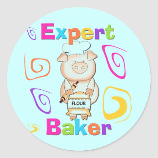 Pig Expert Baker Tshirts and Gifts Classic Round Sticker