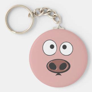 Pig Face Basic Round Button Keychain