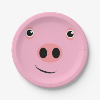 Pig Face Paper Plate