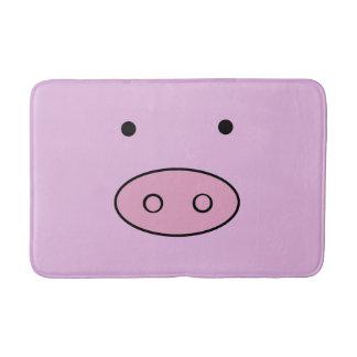 Pig Face, Pig Nose, Cute Little Piggy - Pink Black Bathroom Mat