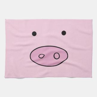 Pig Face, Pig Nose, Cute Little Piggy - Pink Black Kitchen Towels