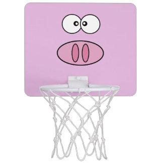 Pig Face, Pig Nose, Cute Little Piggy - Pink Black Mini Basketball Backboard