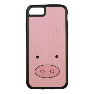 Pig Face, Pig Nose, Pig Snout, Little Piggy - Pink Carved iPhone 8/7 Case