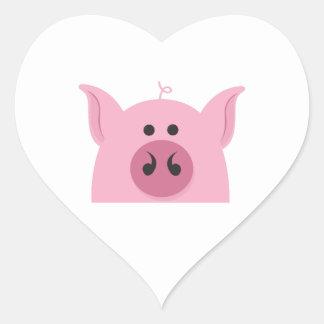 Pig Face Heart Sticker