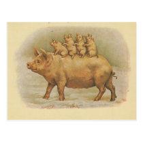 Pig family postcard