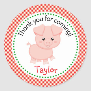 Pig Farm Animals Stickers -Red Checkers Background