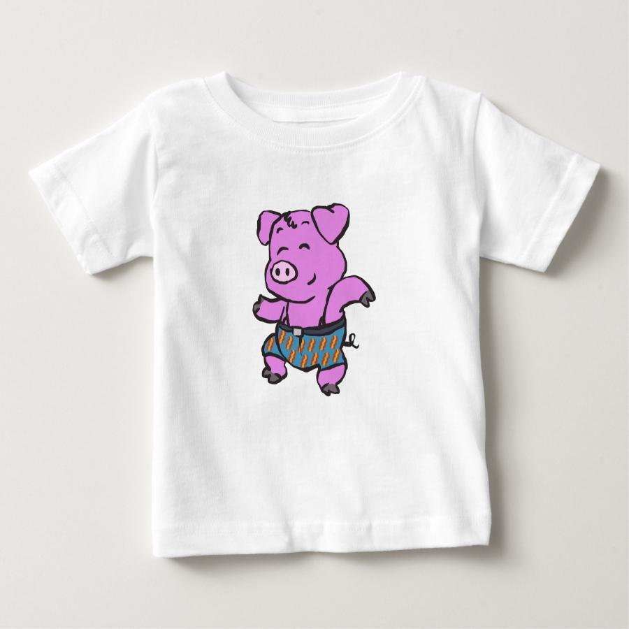 Pig farmer dancing cartoon baby T-Shirt - Soft And Comfortable Baby Fashion Shirt Designs