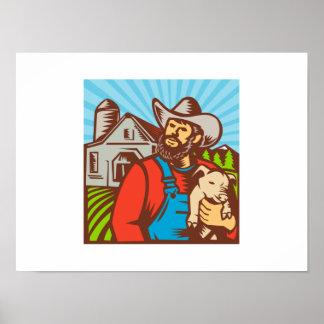 Pig Farmer Holding Piglet Barn Retro Posters