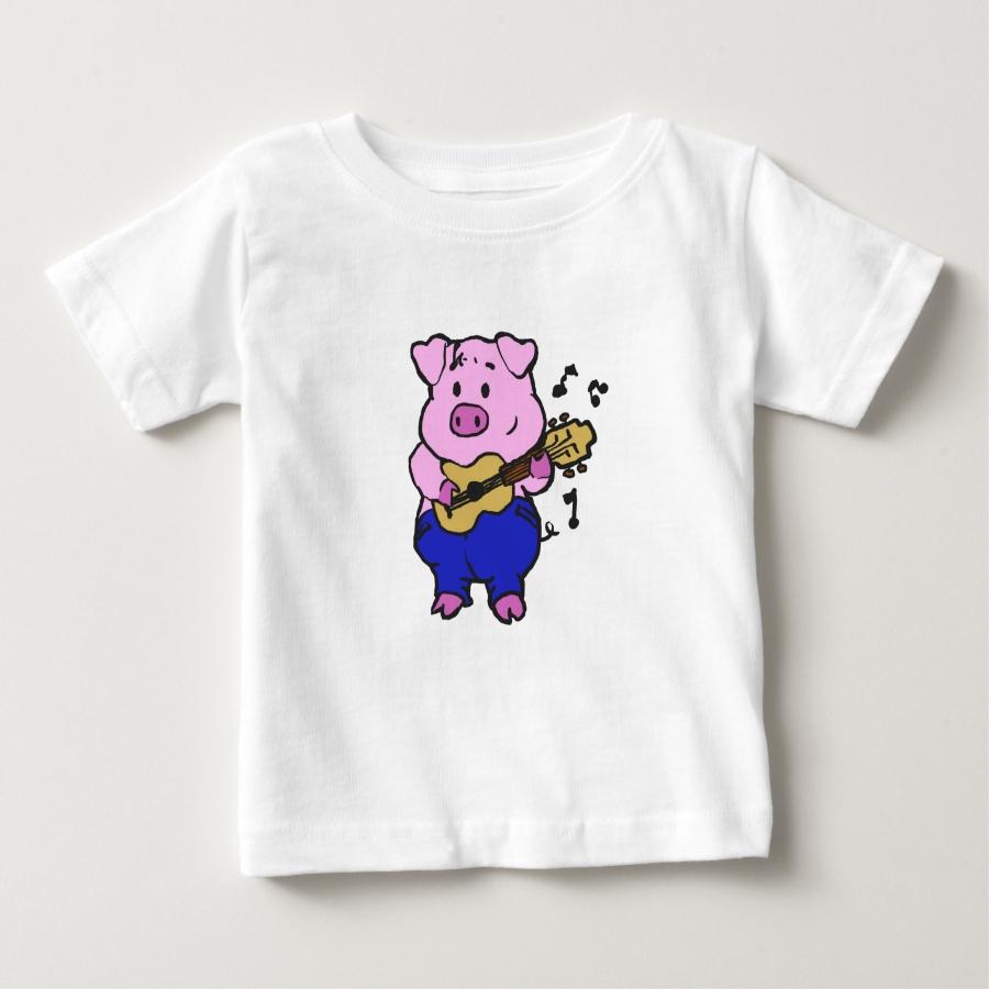 Pig farmer playing guitar baby T-Shirt - Soft And Comfortable Baby Fashion Shirt Designs