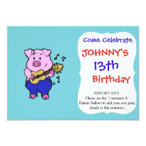 Pig farmer playing guitar invitation