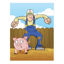 Pig Farmer Sneaking up On Pig Postcard