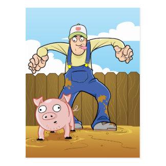 Pig Farmer Sneaking up On Pig Postcard