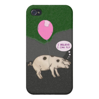 pig flying in a balloon iPhone 4/4S cases