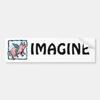 Pig Flying in the Clouds Bumper Stickers