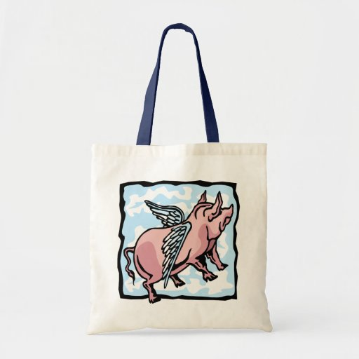 Pig Flying in the Clouds Canvas Bags