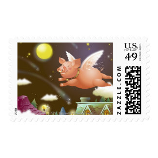 Pig flying in the sky postage