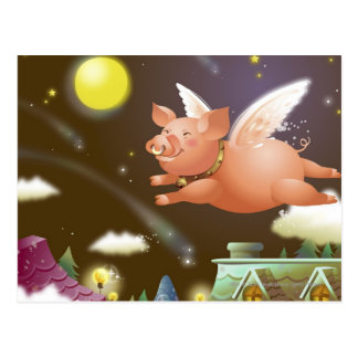 Pig flying in the sky postcards