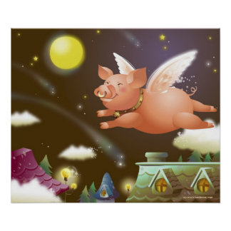 Pig flying in the sky print