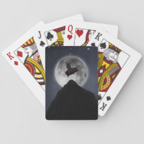 pig flying past full moon playing cards