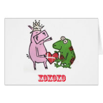 Pig & Frog in love valentine card