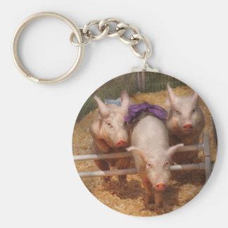 Pig - Getting past hurdles Basic Round Button Keychain