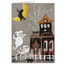Pig Ghosts Haunted House Halloween Card at Zazzle