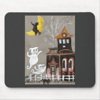 Pig Ghosts Haunted House Mouse Pad