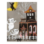 Pig Ghosts Haunted House postcard