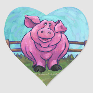 Pig Gifts & Accessories Heart Sticker