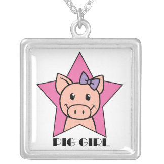 Pig Girl Square Pendant Necklace