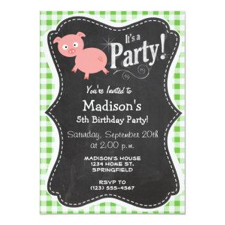 Pig; Green Gingham 5x7 Paper Invitation Card