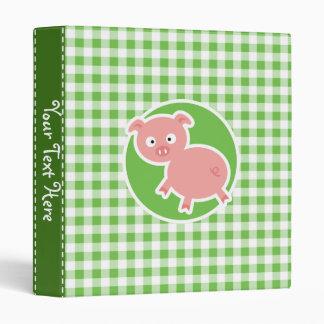 Pig; Green Gingham Binder