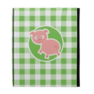 Pig; Green Gingham iPad Folio Covers