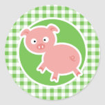 Pig; Green Gingham Classic Round Sticker