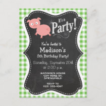 Pig; Green Gingham Invitation Postcard