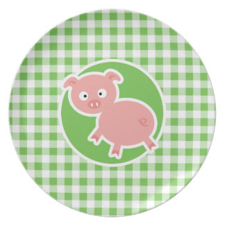 Pig; Green Gingham Party Plates
