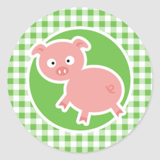 Pig; Green Gingham Stickers