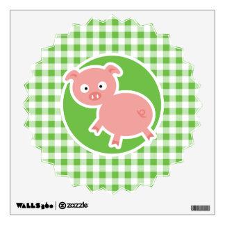Pig; Green Gingham Wall Sticker
