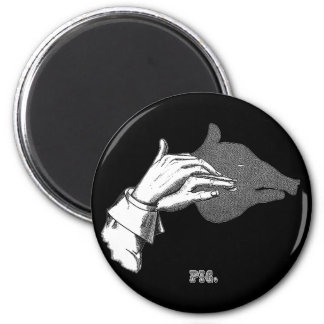 PIG Hand Shadow Art from an Antique Book 2 Inch Round Magnet