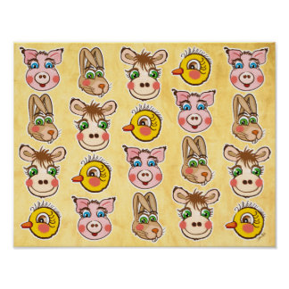 Pig, hare, chick & cow -  Poster