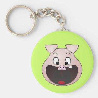 pig head basic round button keychain