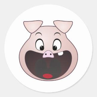 pig head classic round sticker