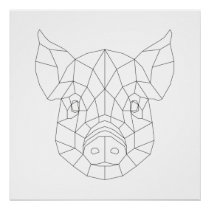 Pig Head Geometric Black & White Modern Art Print