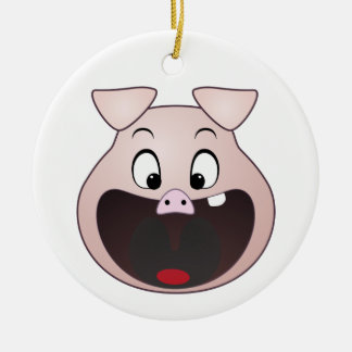 pig head Double-Sided ceramic round christmas ornament