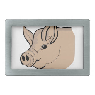 Pig Head Rectangular Belt Buckle