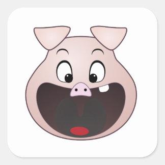 pig head square sticker